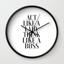 LIKE A BOSS, Act Like A Lady Think Like A Boss,Boss Gift,Girl Boss,Boss Lady,Girls Room Decor,Fashio Wall Clock