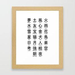 Japanese Alphabet Writing Logos Icons Framed Art Print