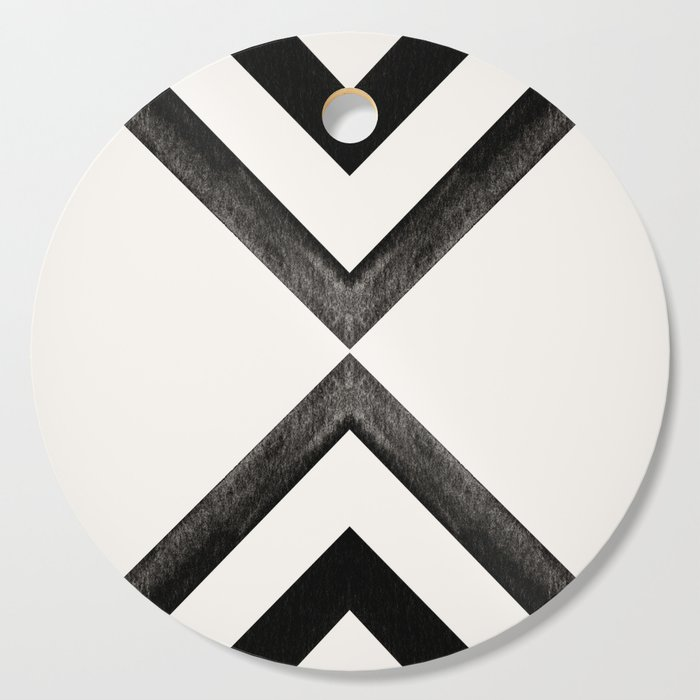 Converging Triangles Black And White Moroccan Tile Pattern Cutting Board By Danahunting