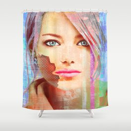 my android lover... bit her face off... can u fix her? Shower Curtain