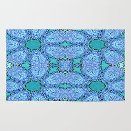 Turquoise Blue Crystal Floral Rug