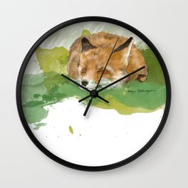 Sleepy Fox Wall Clock