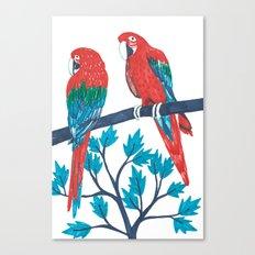 Red Parrots Canvas Print