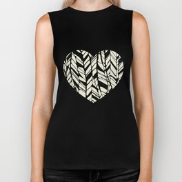 black and white feather texture Biker Tank
