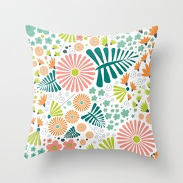 Whimsical flowers - pink, white and green Throw Pillow