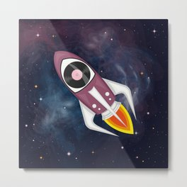 Violet Musical rocket in outer space Metal Print