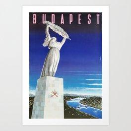Budapest, Hungary, Gellért Hill, Liberty Statue, vintage poster Art Print
