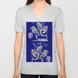 Owl and Butterfly Print 5 Royal Blue Unisex V-Neck