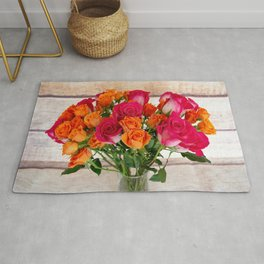 Colorful Rose Bouquet Rug