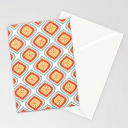 Mid Century Modern Mandala Retro Muted Turquoise Orange Stationery Cards