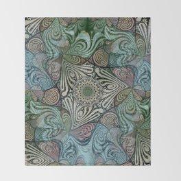 Labyrinth Mandala Blue Green Grey Throw Blanket