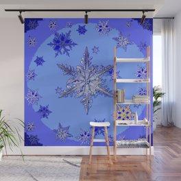 """BLUE SNOW ON SNOW"" BLUE WINTER ART Wall Mural"