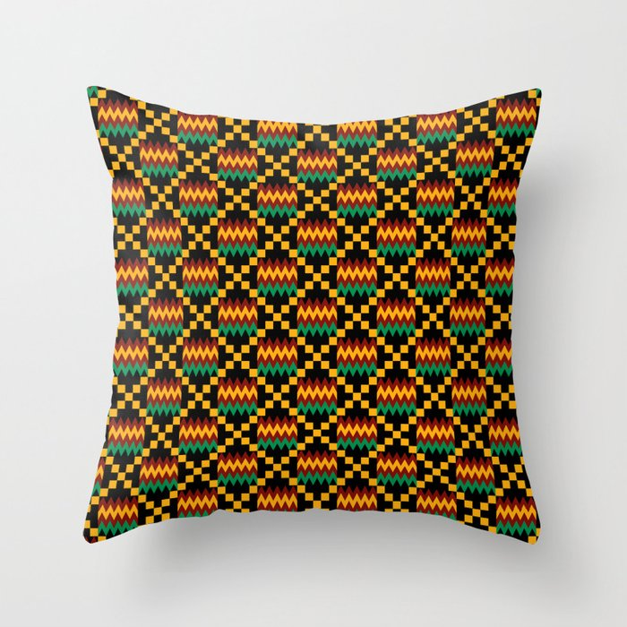 Yellow Gold Throw Pillows.Green Dark Red Yellow Gold Kente Cloth On Black Throw Pillow By Mtothefifthpower