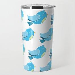 Blue Bird Pattern Travel Mug