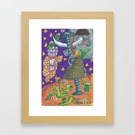Alien May Day & Fire  Frogs Framed Art Print