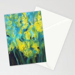 Impressionist summer yellow daffodil garden Stationery Cards