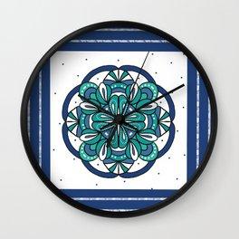 Blue and Green Mandala Wall Clock