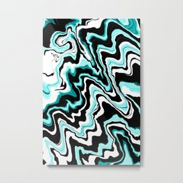 Blue liquified,marble effect decor Metal Print