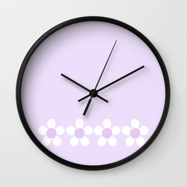 Spring Daisies - Geometric Design in Lilac Purple & White Wall Clock