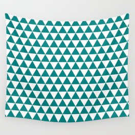 Triangles (Teal/White) Wall Tapestry