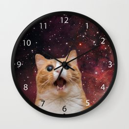 scaredy cat in space Wall Clock