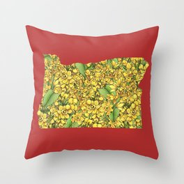 Oregon in Flowers Throw Pillow