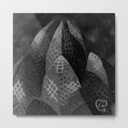 Lotus Temple by Lu, Black and White Metal Print