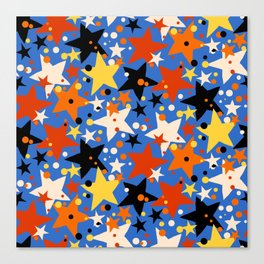 Fun ditsy print with bright colorful stars Canvas Print