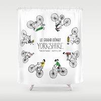 tour de france Shower Curtains featuring Yorkshire Tour de France Grand Départ IV by Holly Fisher@SpenceCreative