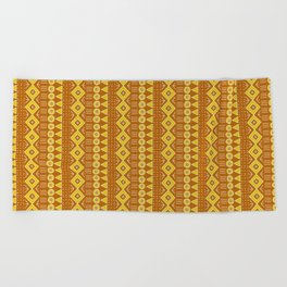 Mudcloth Style 2 in Burnt Orange and Yellow Beach Towel
