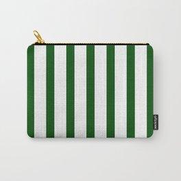 Dark Green Vertical Stripes Design Carry-All Pouch