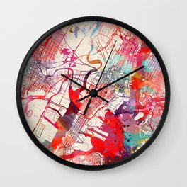Jersey City map New Jersey painting Wall Clock