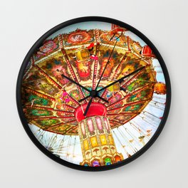 Vintage retro, bright, colorful carnival swing ride Wall Clock