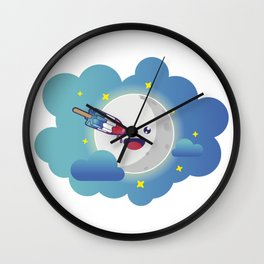 Moon in the clouds with a popsicle Wall Clock