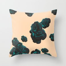Green and Black Roses on Peach, Greenery Throw Pillow