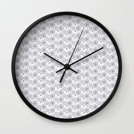 Pantone Lilac Gray Polka Dots and Circles Pattern on White Wall Clock