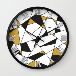 Modern Geometry -black and white with gold- Wall Clock