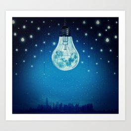 bulb moon night Art Print