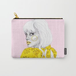Yellow girl on pink Carry-All Pouch