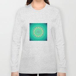 Teal Yellow Bohemian Mandala Long Sleeve T-shirt