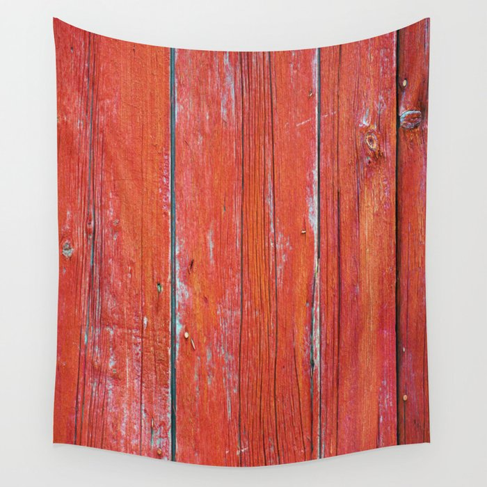 Red Rustic Fence rustic decor Wall Tapestry