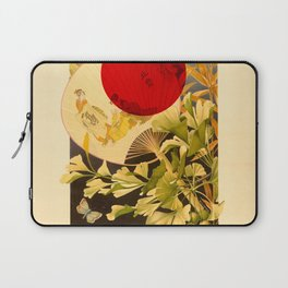 Japanese Ginkgo Hand Fan Vintage Illustration Laptop Sleeve
