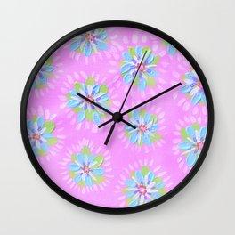 Sky Blue Petal Rose Wall Clock