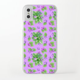 Seamless pattern house plant violet Clear iPhone Case