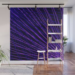 Rays of violet light with intersecting light waves on black. Wall Mural