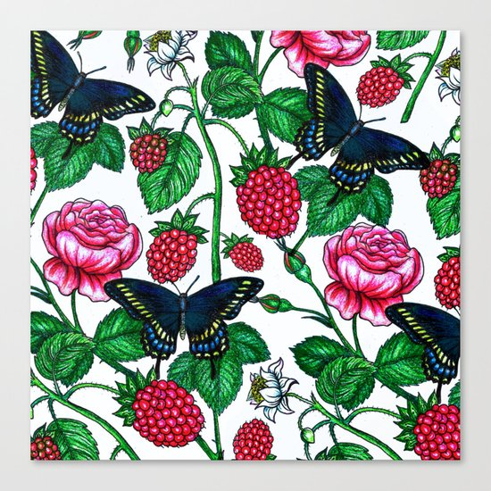 Raspberries pattern Canvas Print