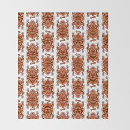 TIBETAN TIGER - ALL OVER (white) Throw Blanket