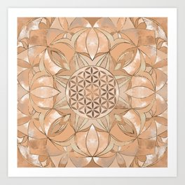 Flower of Life Watercolor gentle peach Art Print