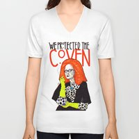 coven V-neck T-shirts featuring WE PROTECTED THE COVEN by Robert Red ART