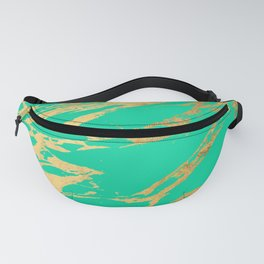 Gold Bright Teal Marble Stone Modern Pattern Fanny Pack